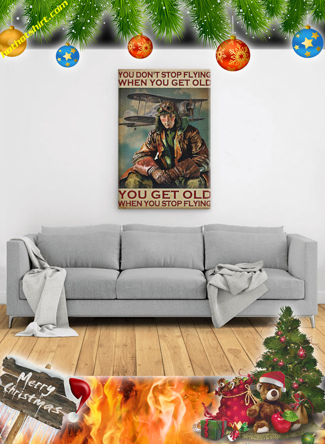 Male Pilot You don't stop flying when you get old poster and canvas 2