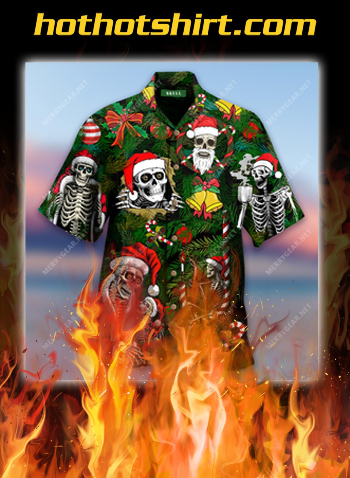 Merry Xmas Skulls Short Sleeve Shirt and Hawaiian shirt- pic 1