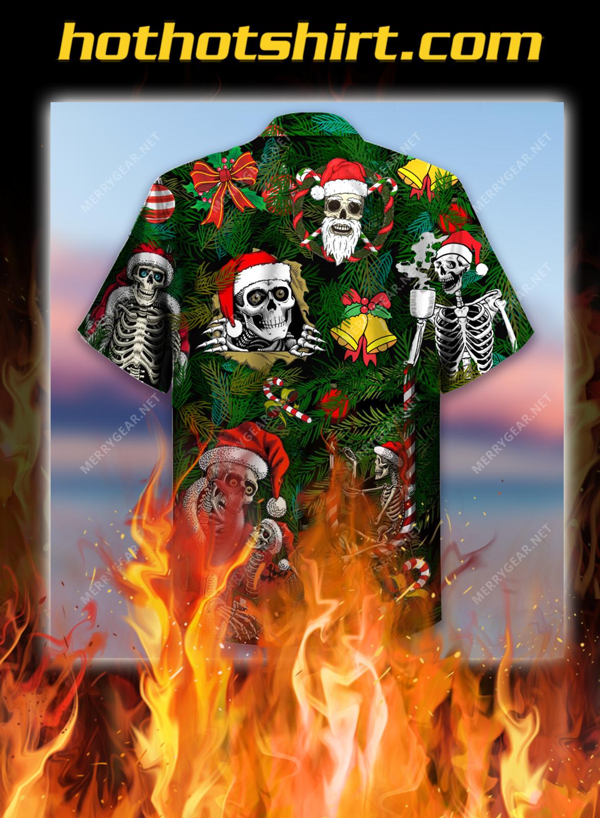 Merry Xmas Skulls Short Sleeve Shirt and Hawaiian shirt- pic 2