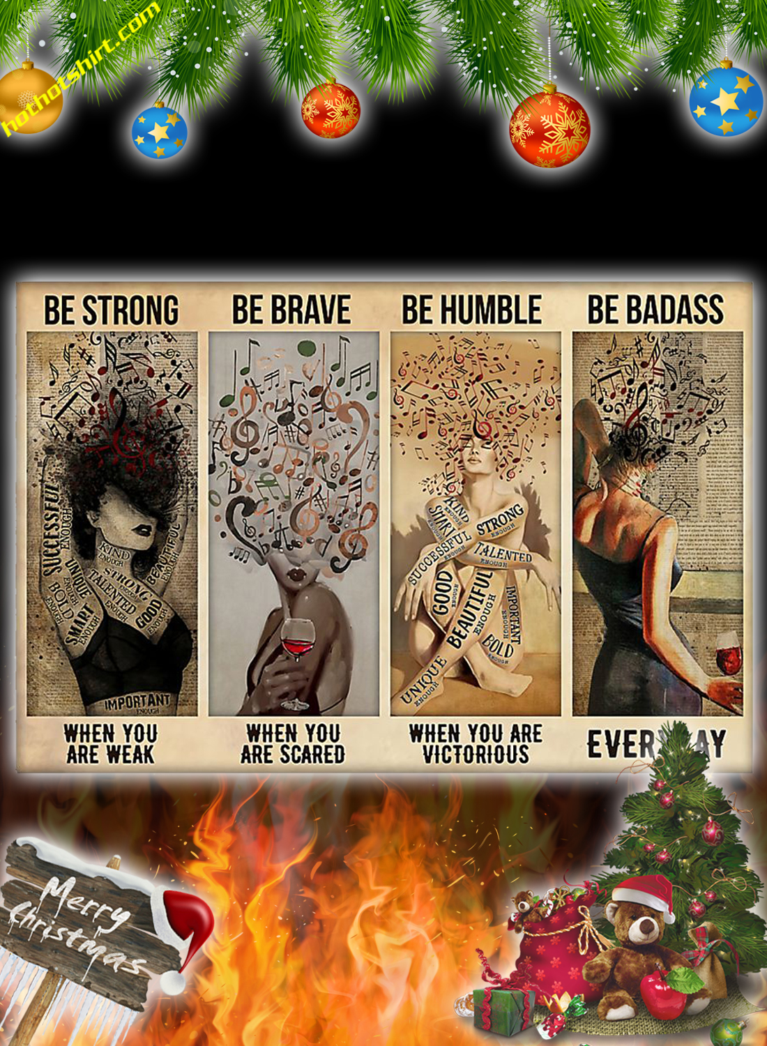 Music Be strong be brave be humble be badass poster
