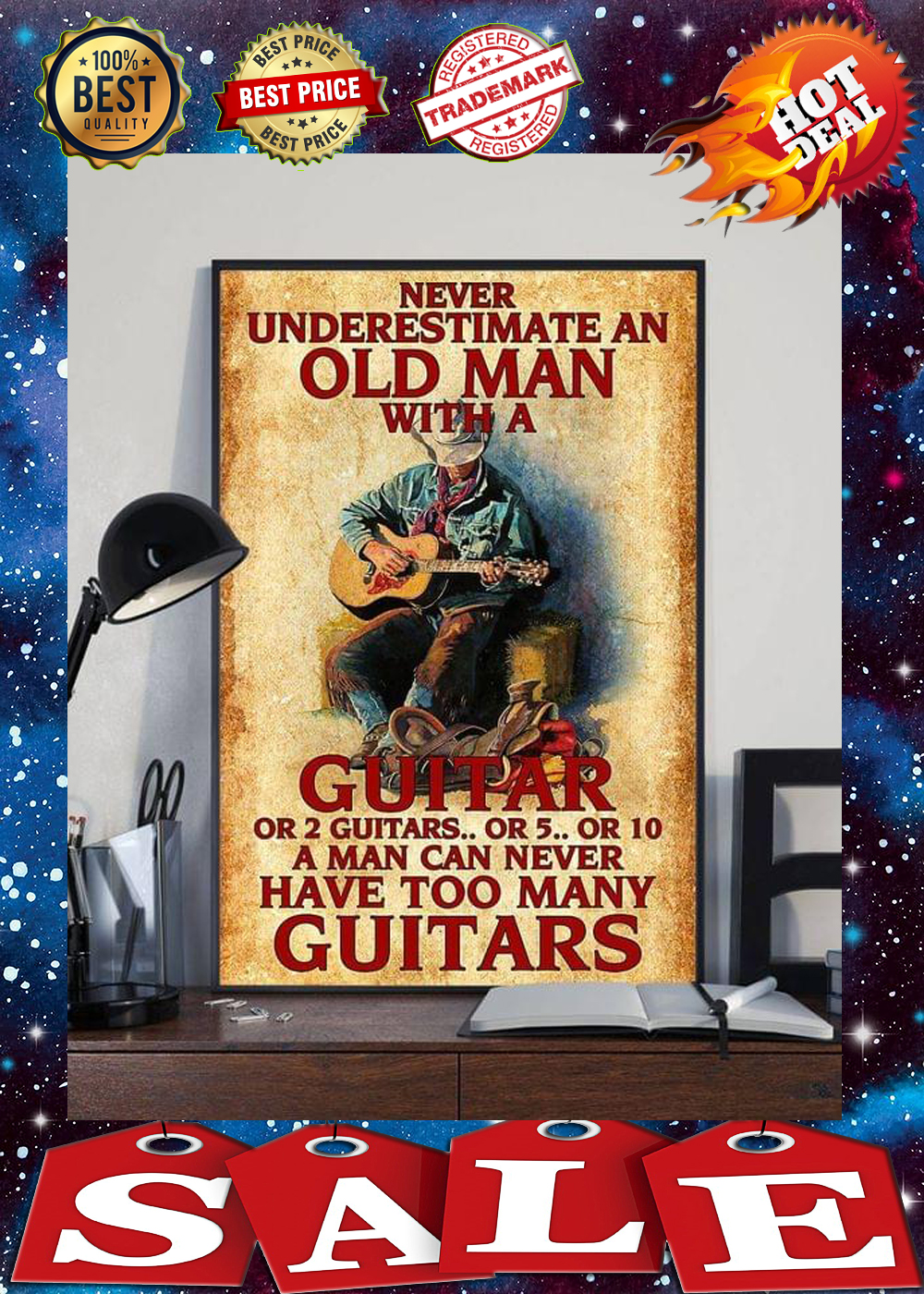 Never underestimate an old man with a guitar or 2 guitars poster 3