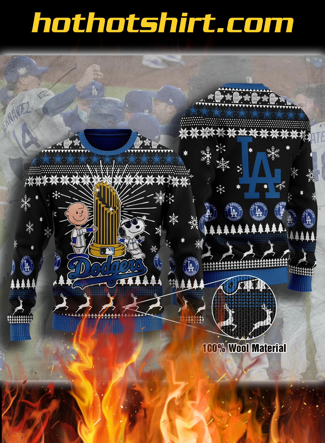 Peanuts LA dodgers ugly christmas sweater 1