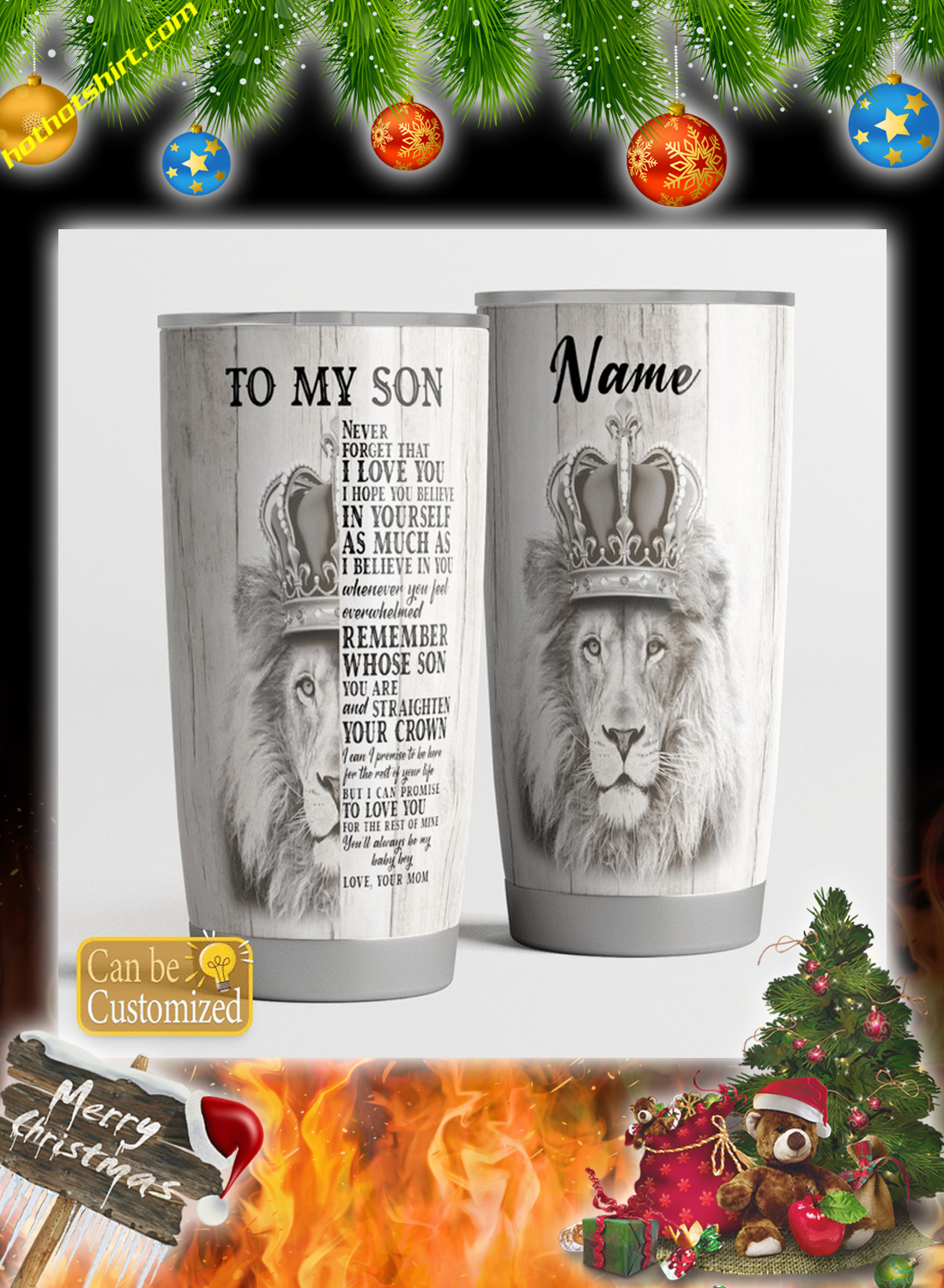 Personalize customize name Lion To my son you mom tumbler 2