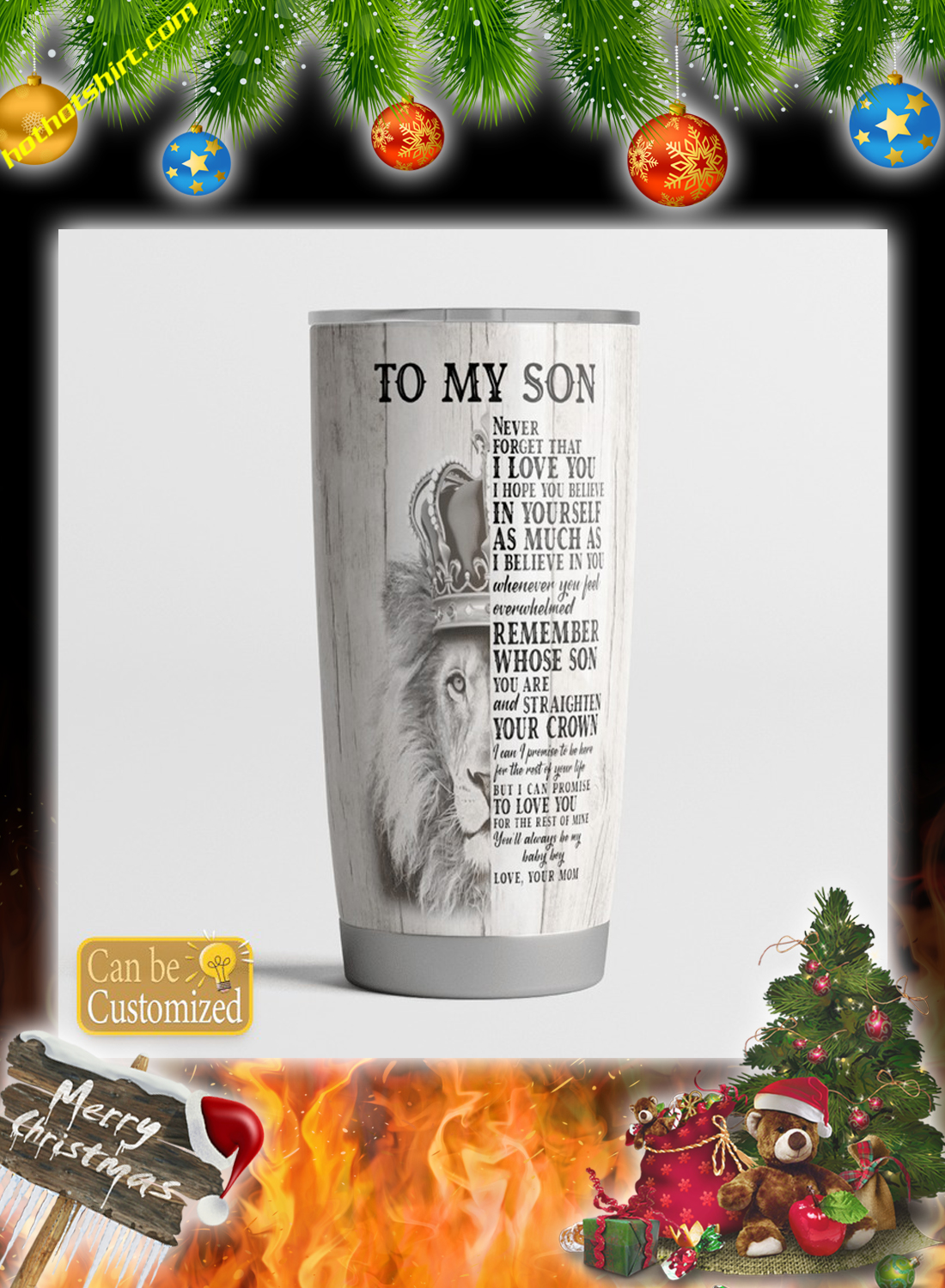 Personalize customize name Lion To my son you mom tumbler 4