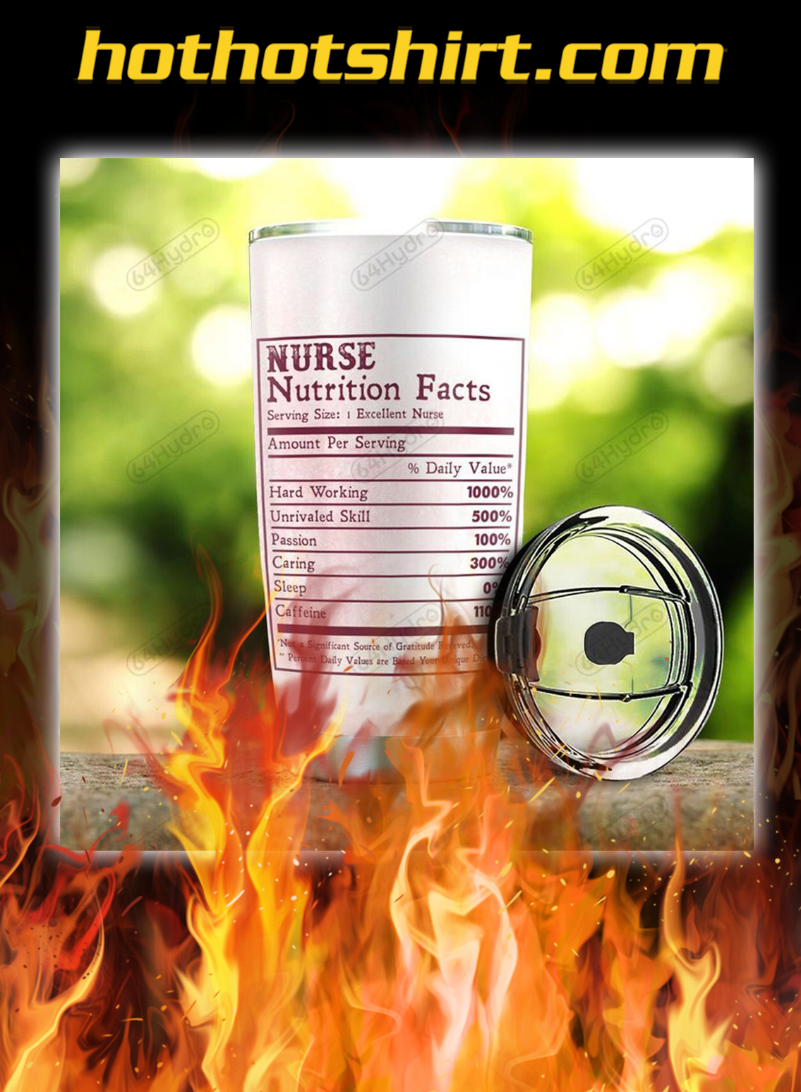 Personalized Brave Nurse Nutrition Facts Tumbler- pic 2