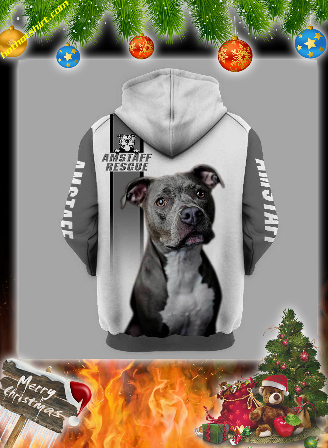 Personalized Pitbull am staff rescue custom image and text 3d hoodie 1