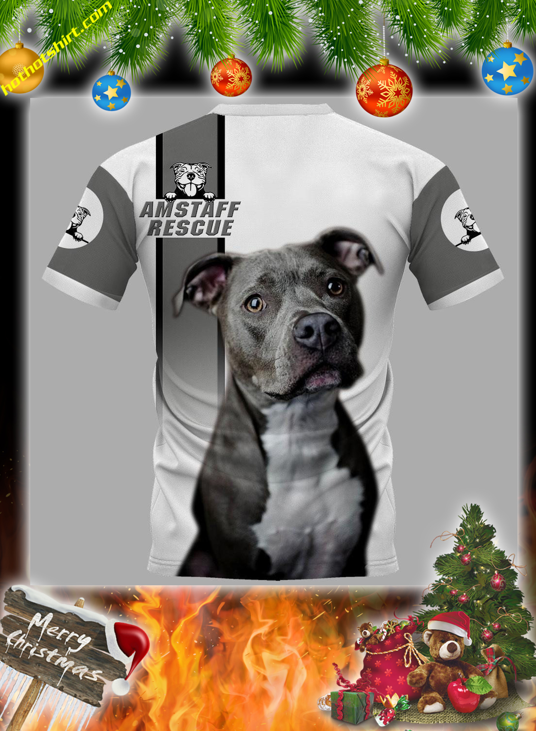Personalized Pitbull am staff rescue custom image and text 3d hoodie 3
