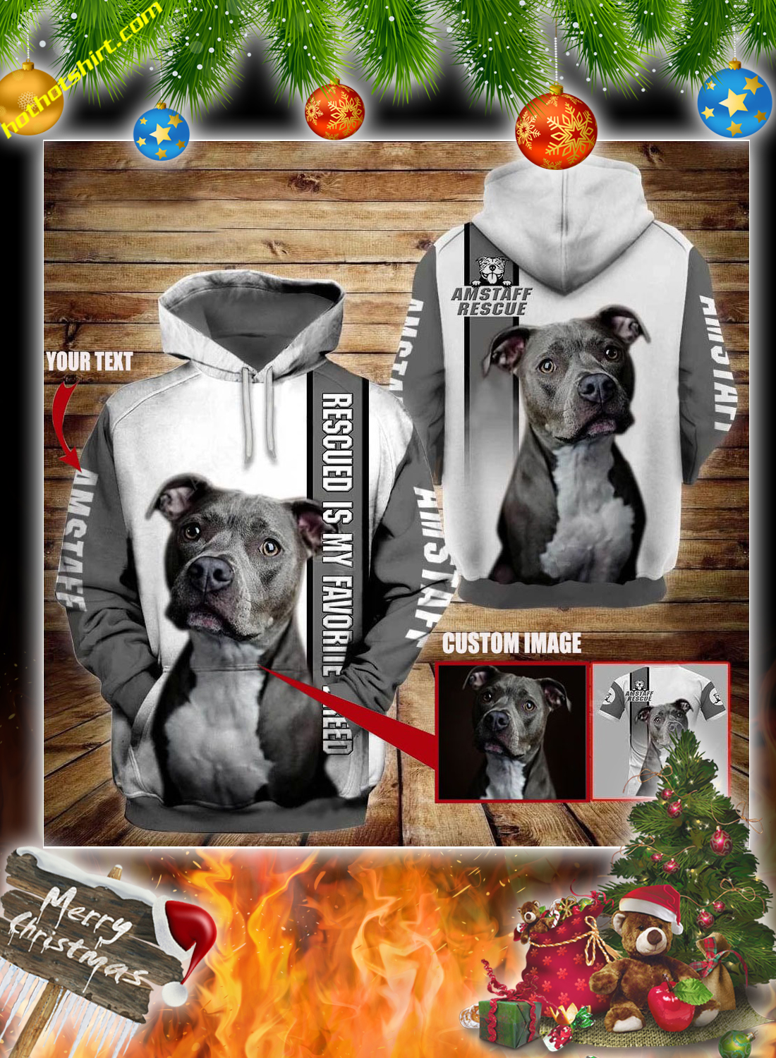 Personalized Pitbull am staff rescue custom image and text 3d hoodie