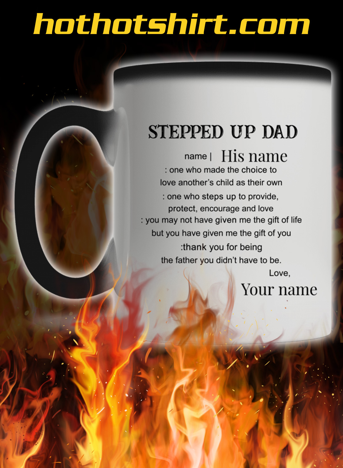 Personalized custom name Stepped up dad mug 1