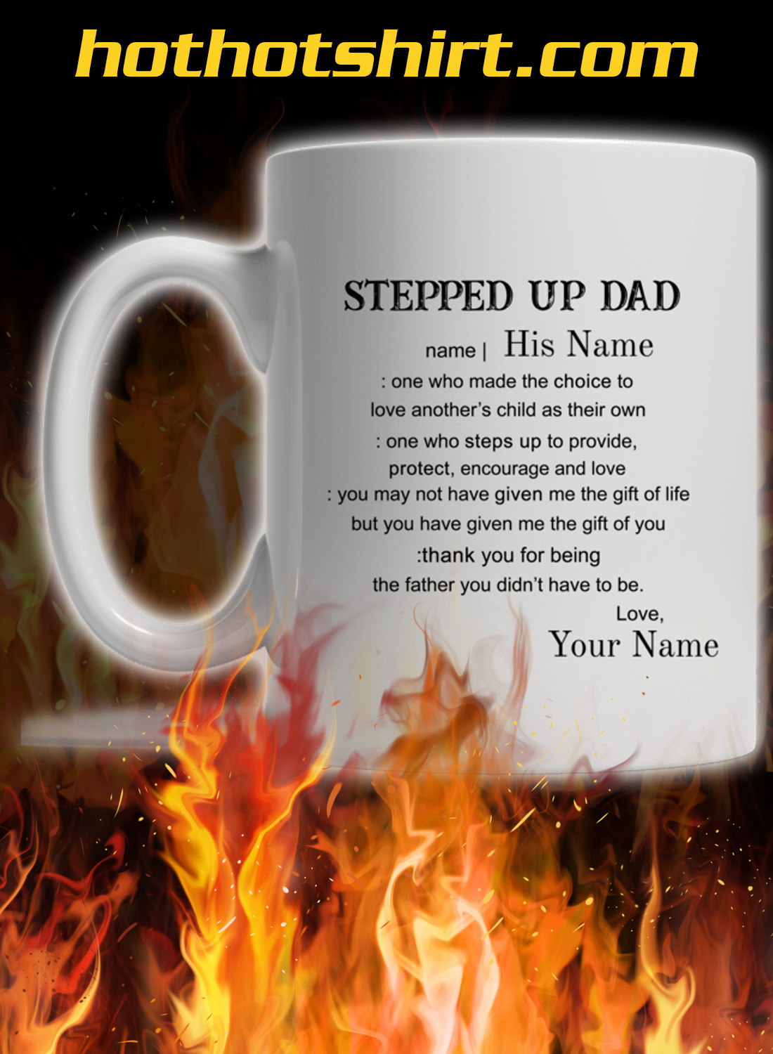 Personalized custom name Stepped up dad mug 2
