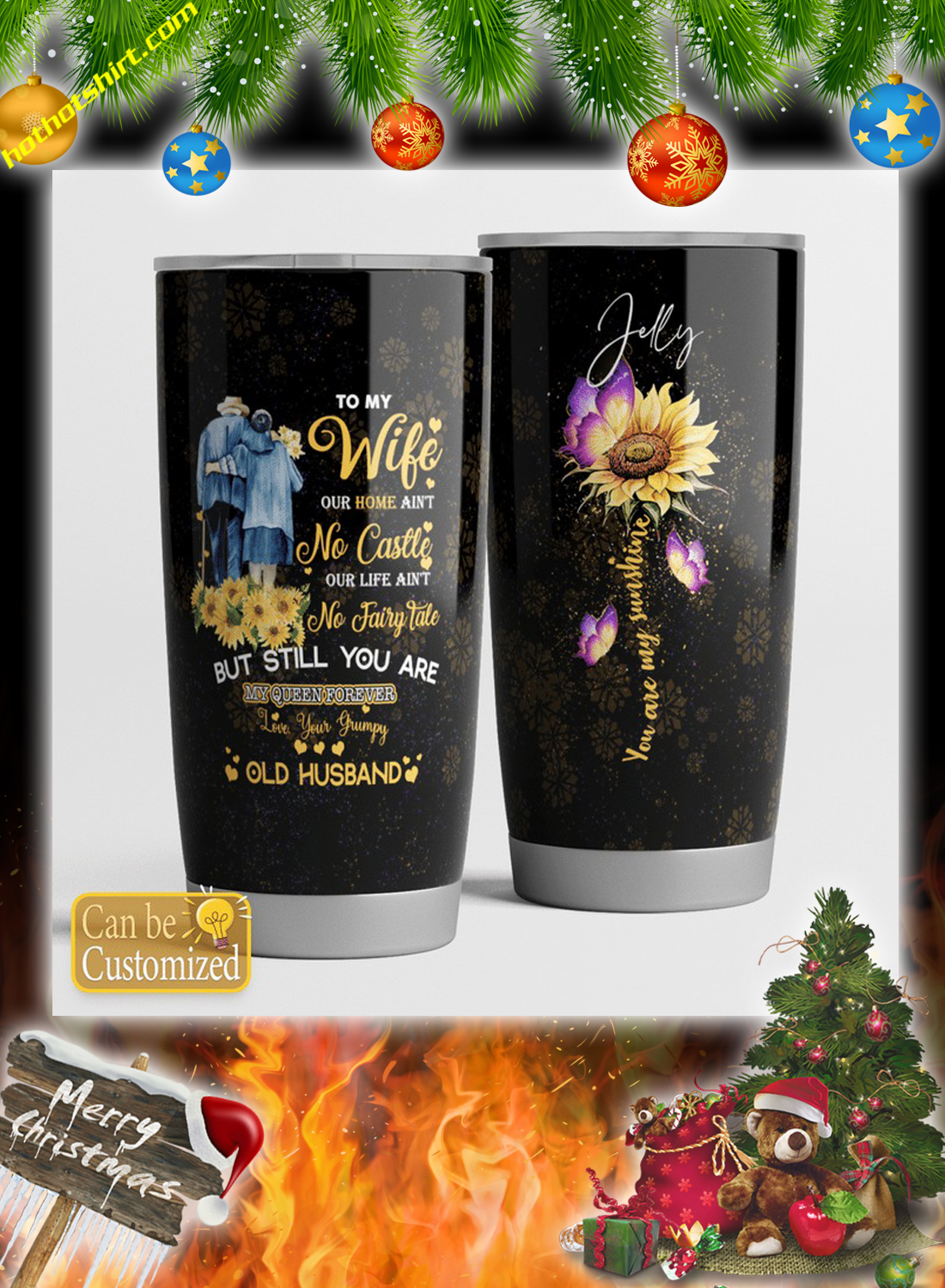 Personalized custom name To my wife you are my sunshine tumbler 2
