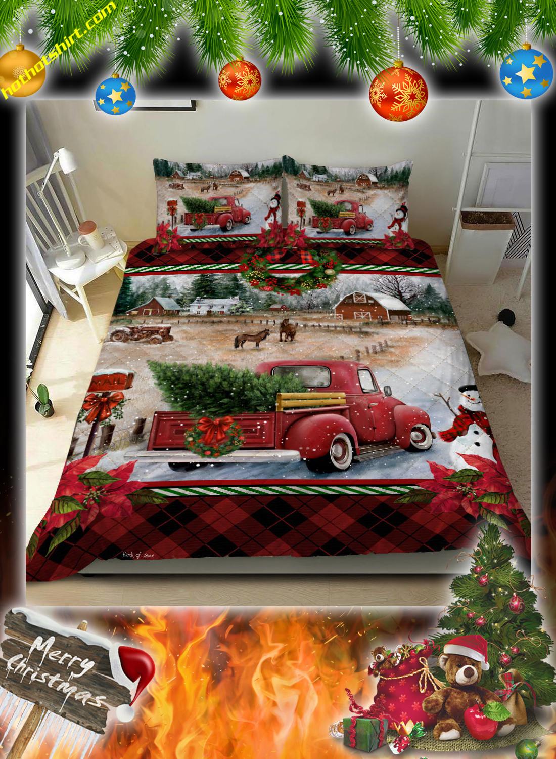 Red Truck Christmas Bed Set 2