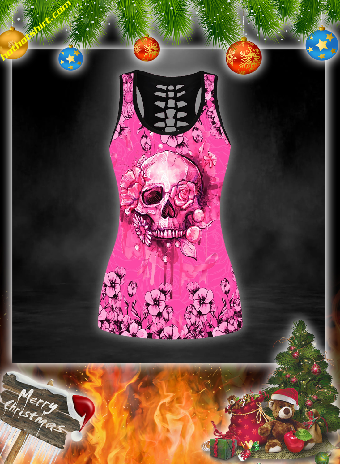Skull breast cancer warrior 3d hoodie, legging and hollow tank top 2