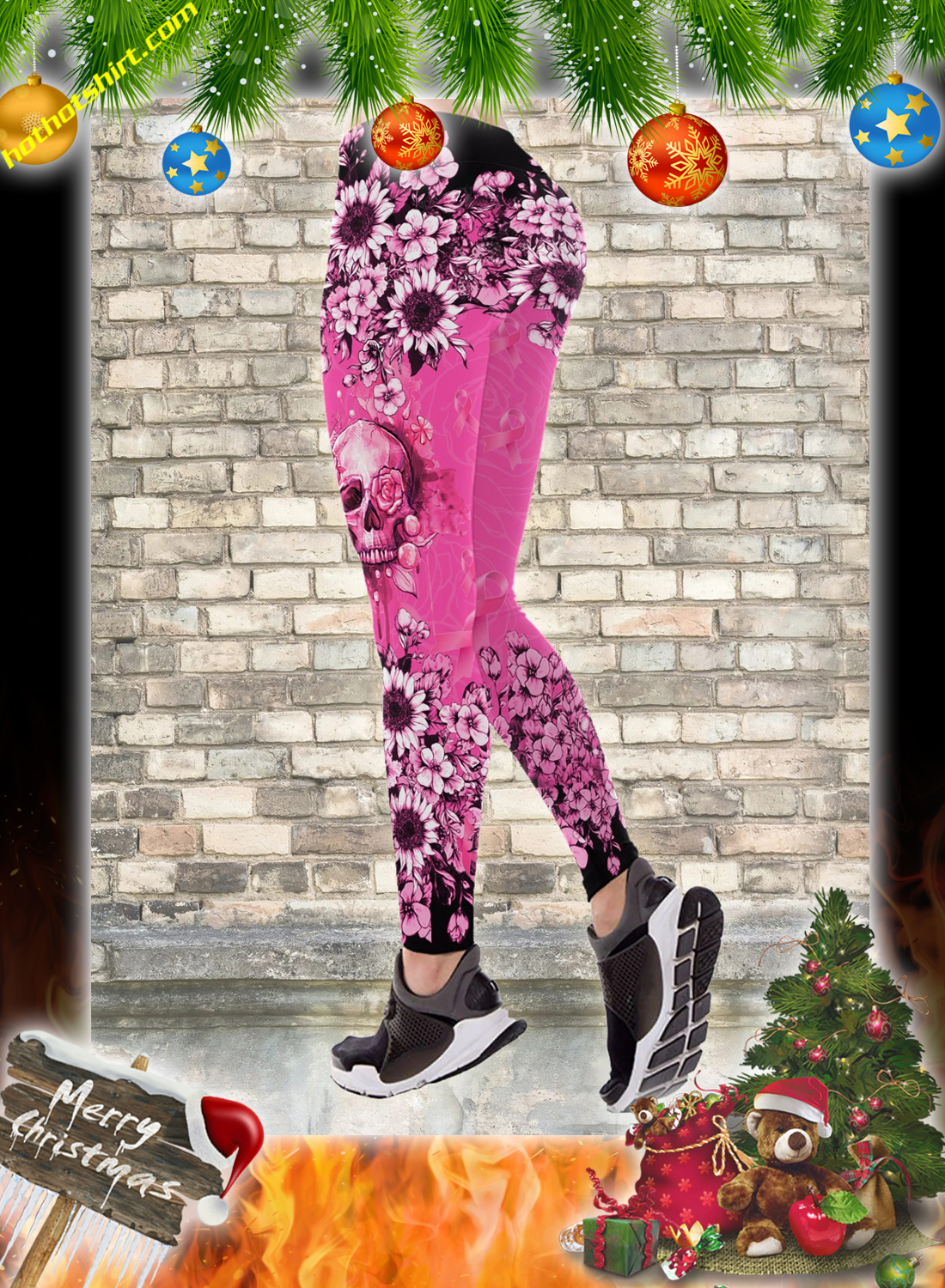 Skull breast cancer warrior 3d hoodie, legging and hollow tank top 3