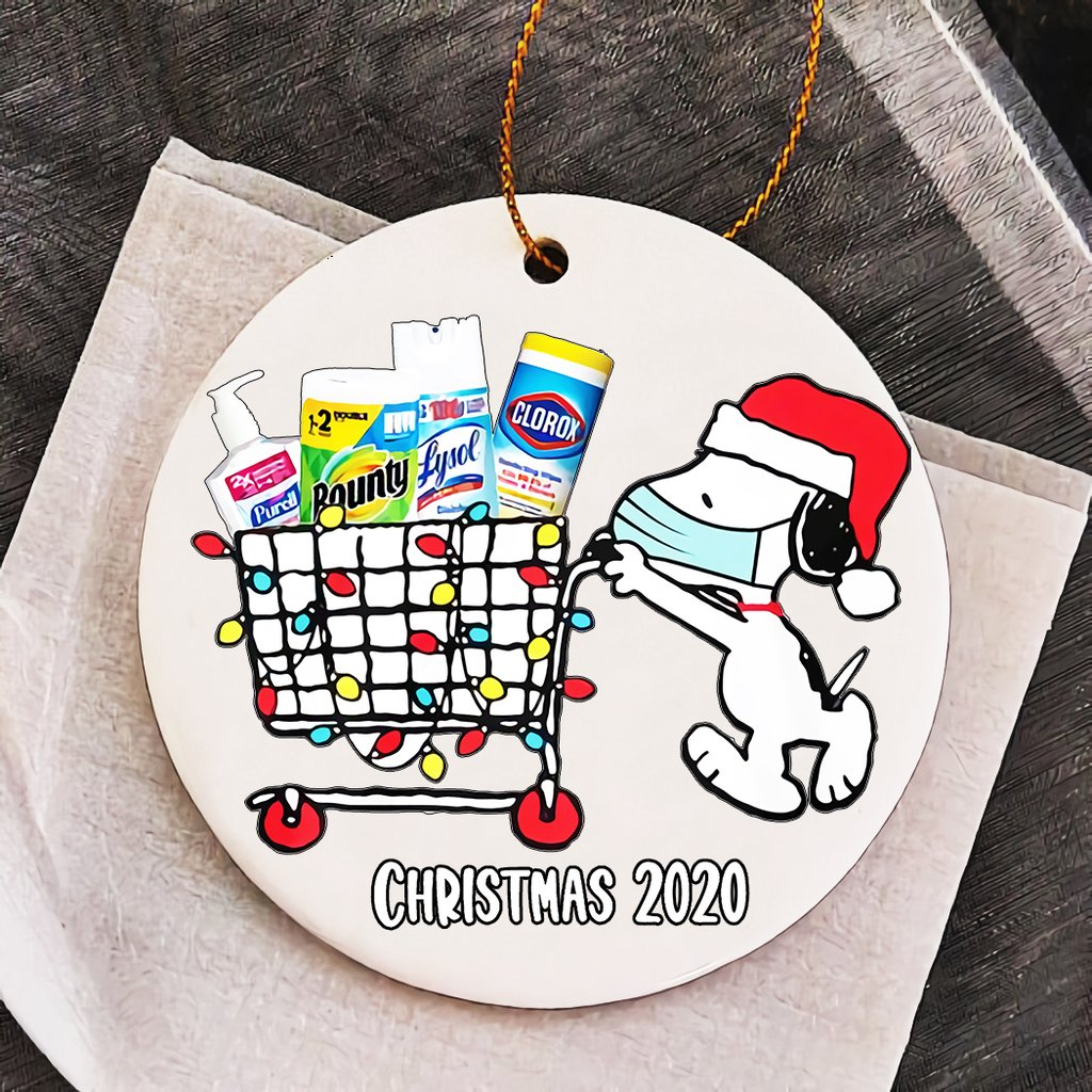 Snoopy shopping for christmas ornaments