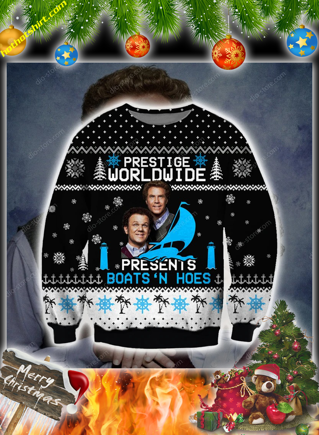 Step Brothers Prestige worldwide presents boats n hoes Ugly Christmas Sweater 2