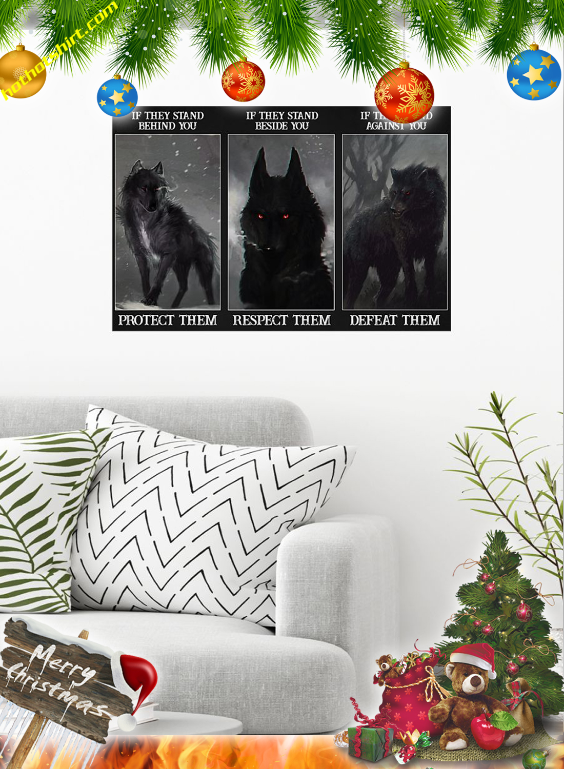 Wolf if they stand behind you protect them poster and canvas 1