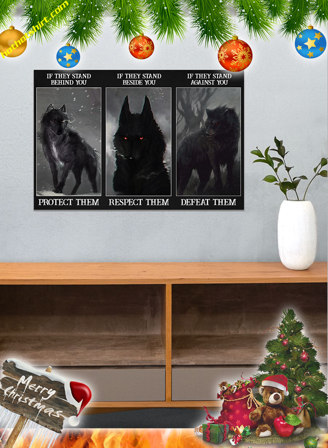 Wolf if they stand behind you protect them poster and canvas 3