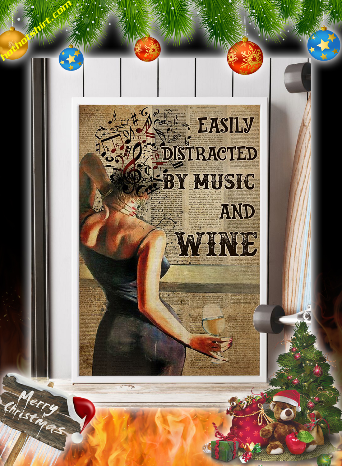 Woman easily distracted by music and wine poster 1