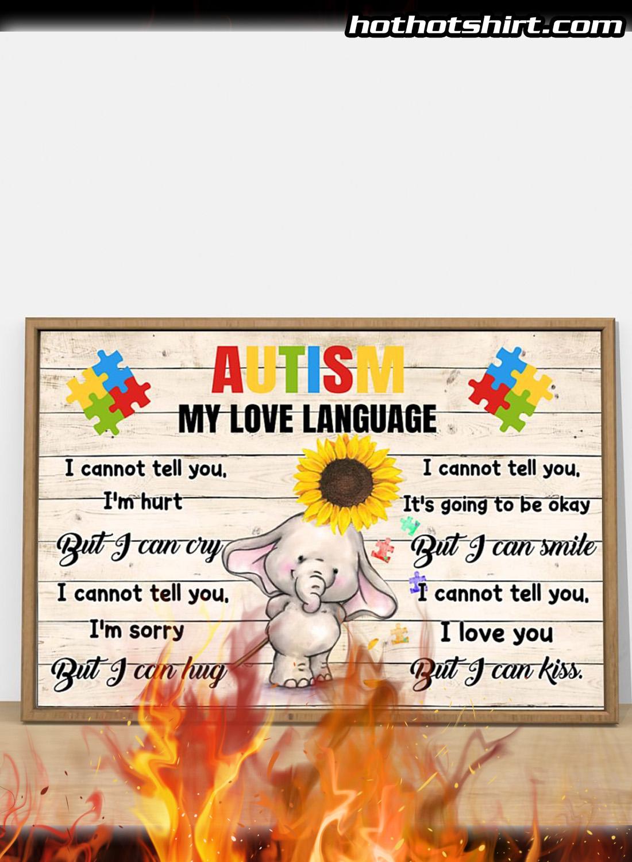 Autism my love language elephant poster 2