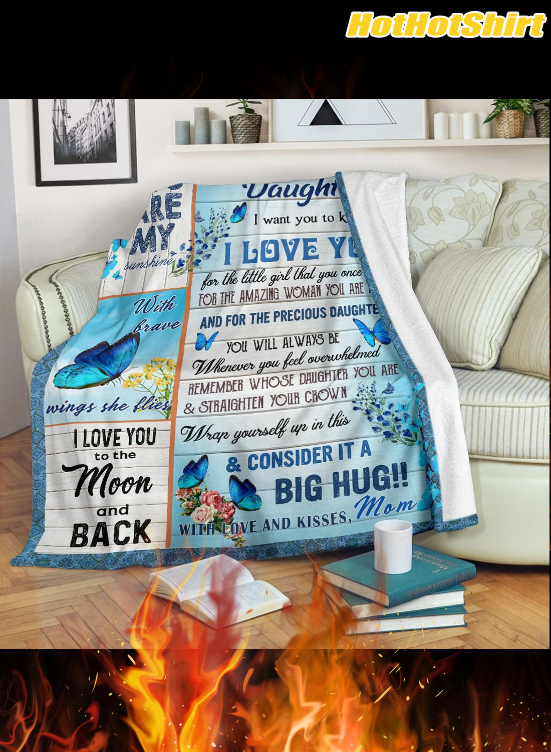 Butterfly to my daughter i want you to know i love you your mom blanket 1