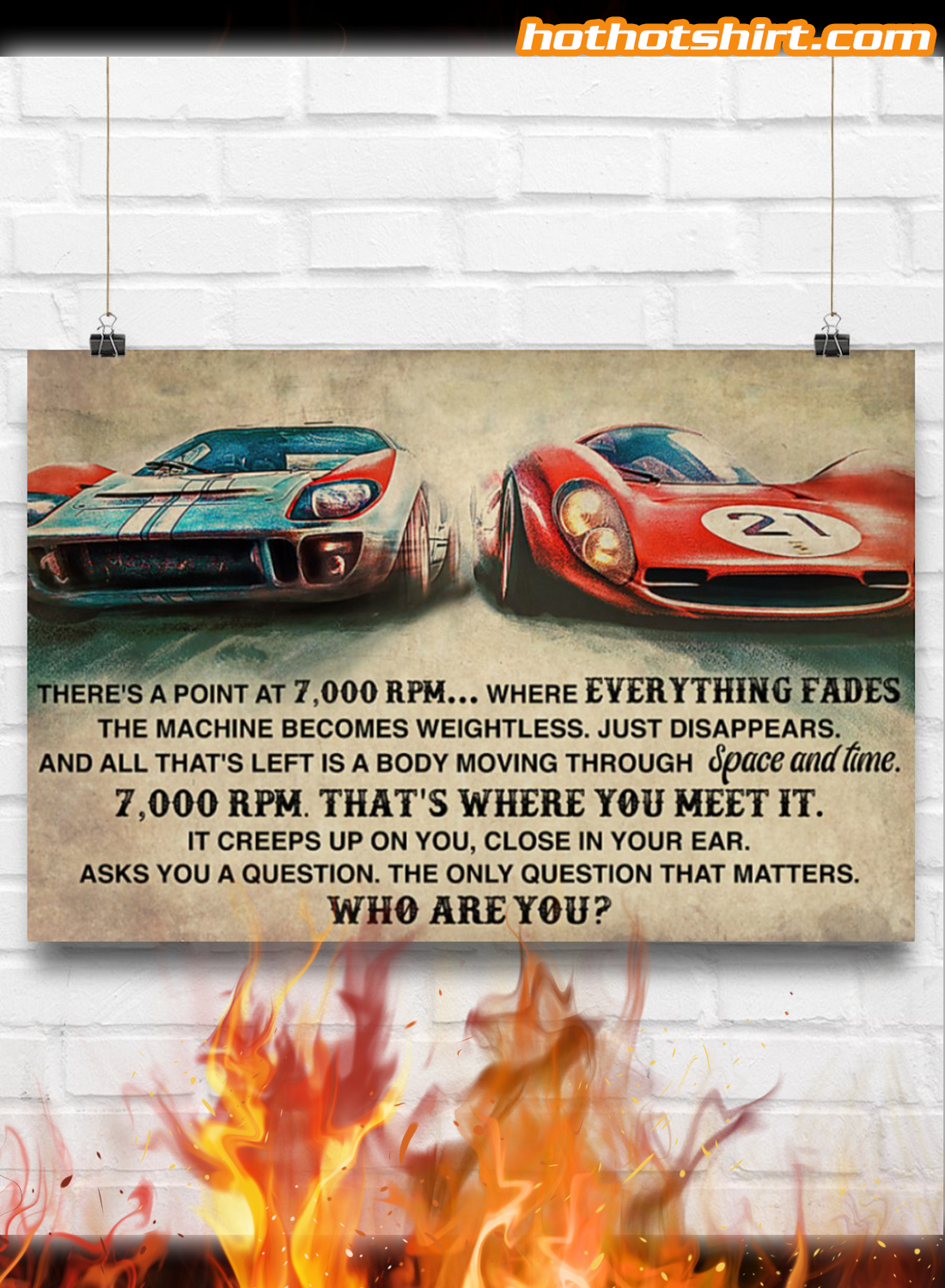 Car Racing There's a point at 7000 RPM Who Are You Poster 1