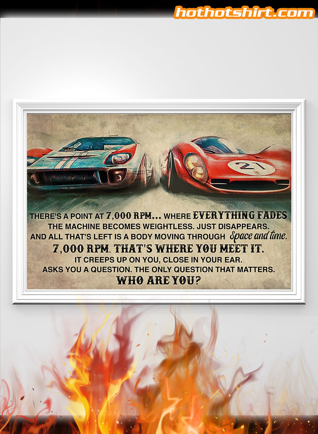 Car racing there's a point at 7000 RPM poster 1