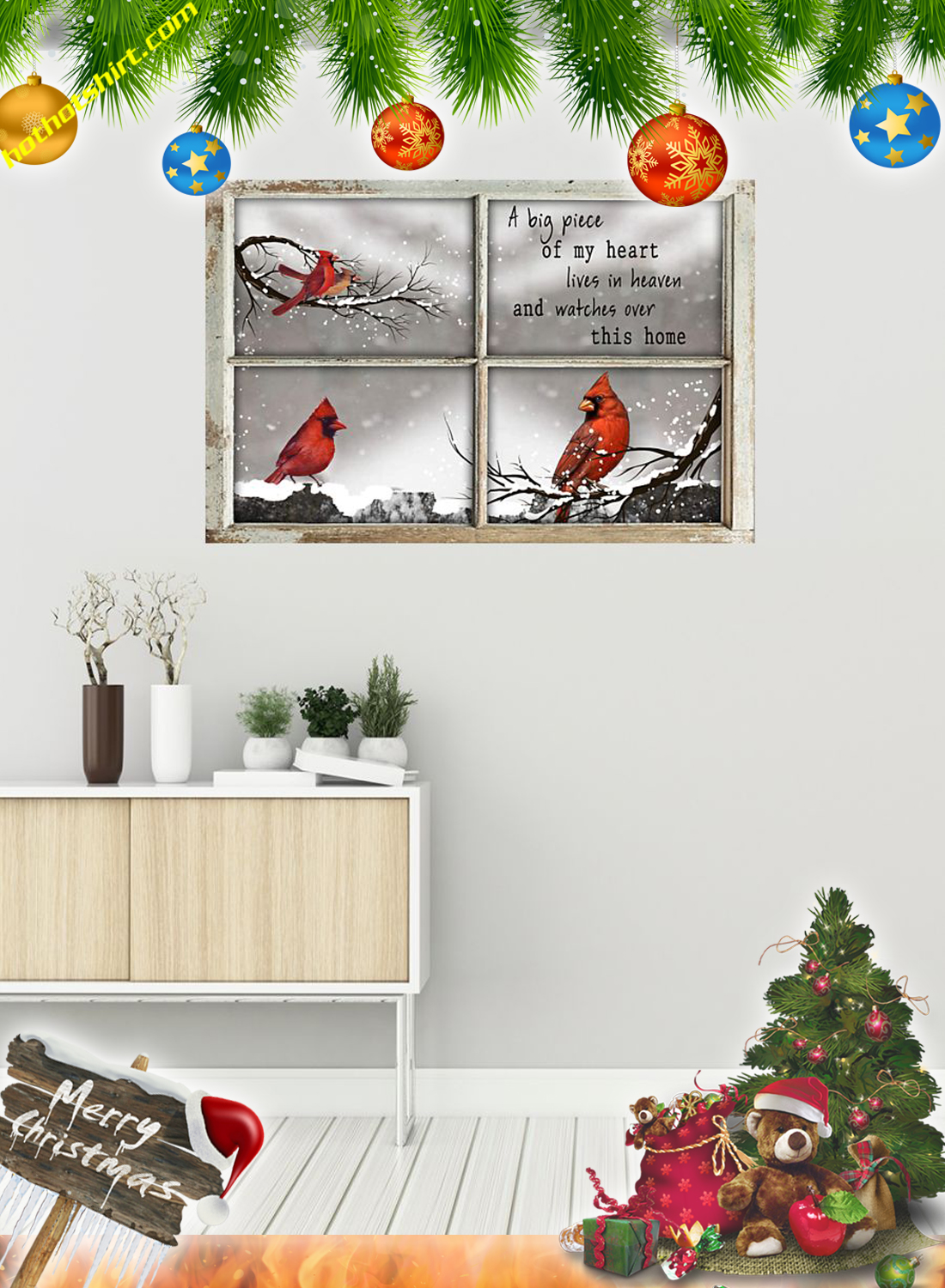 Cardinal Bird A big piece of my heart lives in heaven poster 1