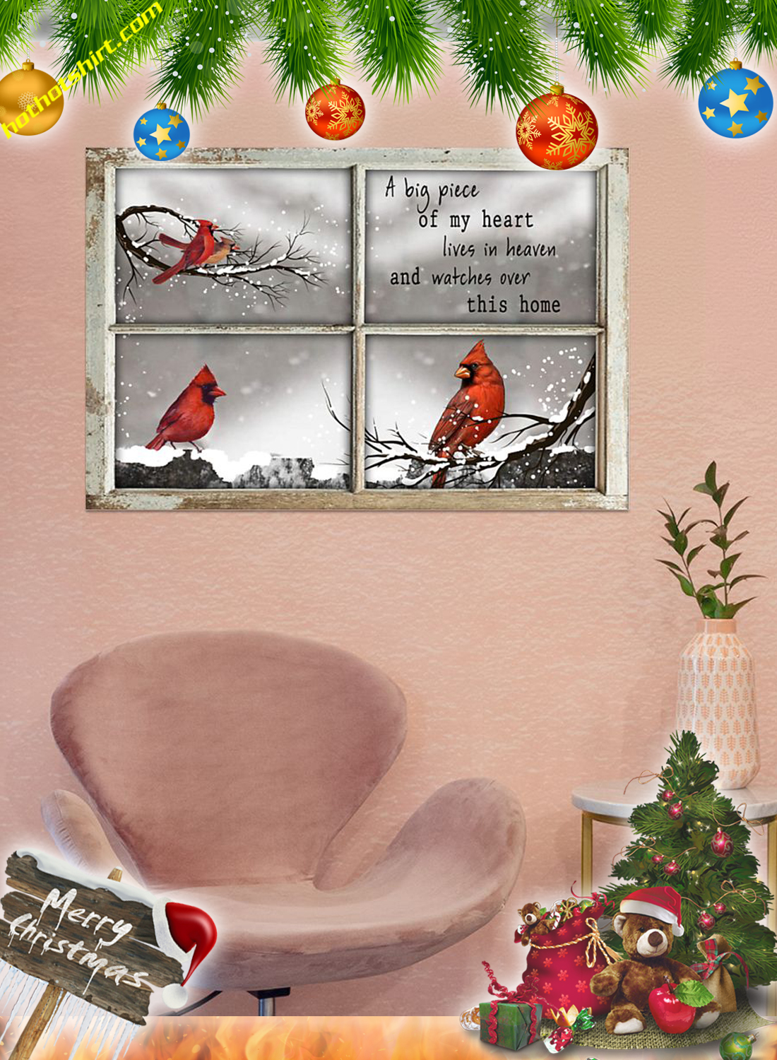 Cardinal Bird A big piece of my heart lives in heaven poster 2