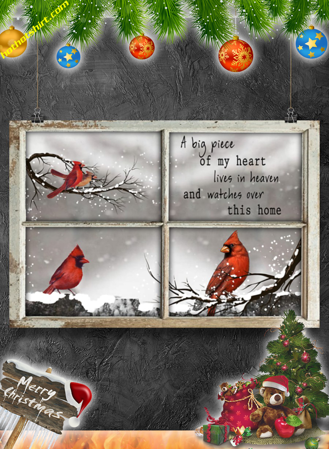 Cardinal Bird A big piece of my heart lives in heaven poster 3