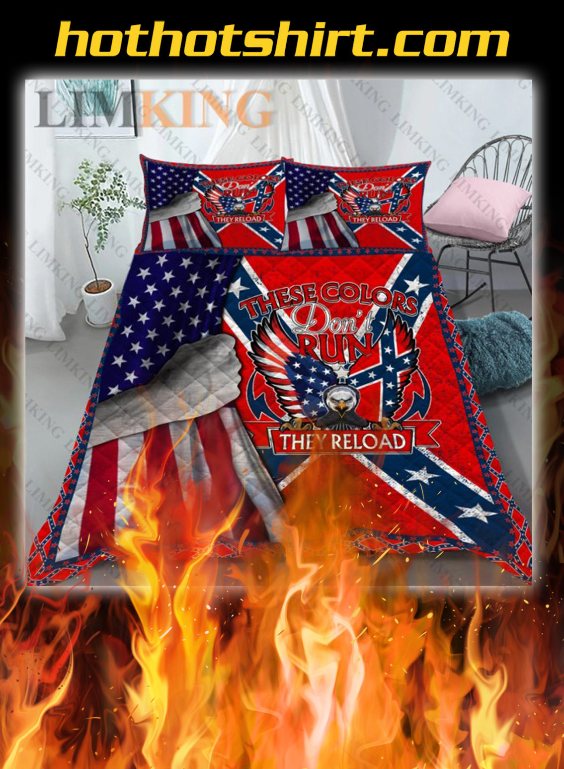 Confederate Flag These Colors Don't Run bedding set- twin