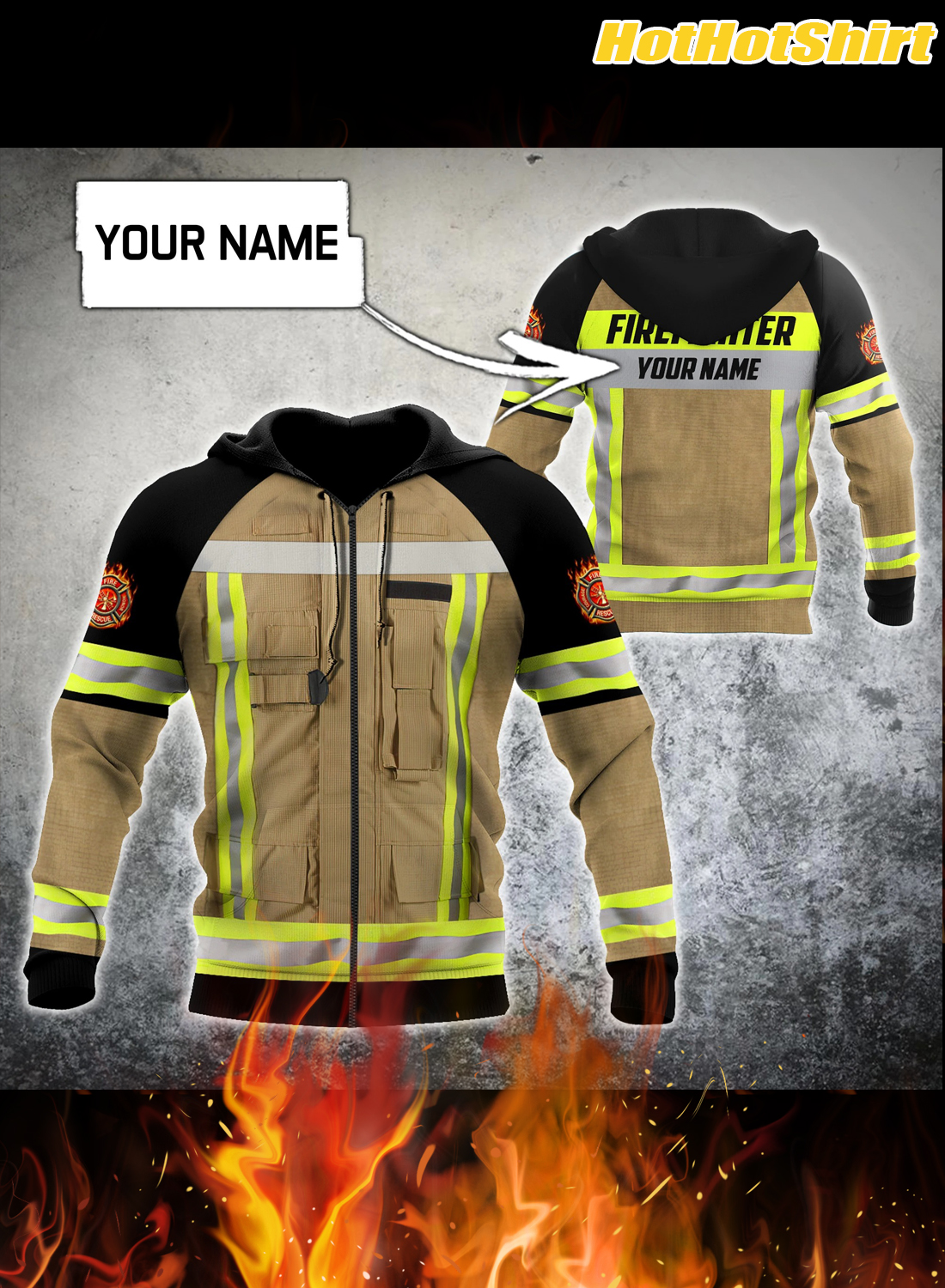 Customize Name Firefighter 3D All Printed Hoodie 1