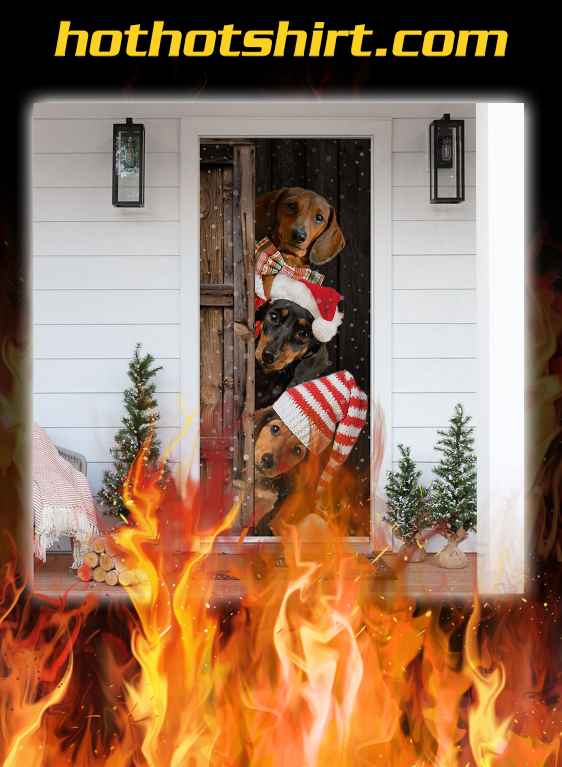Dachshund Christmas Door Cover - pic 1