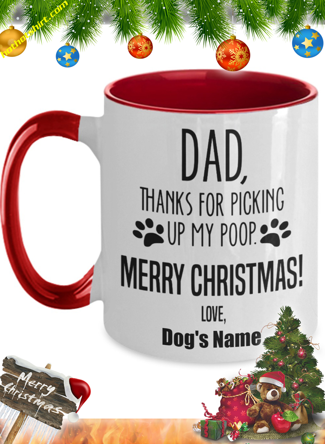 Dad thanks for picking up my poop personalize custom name mug 1