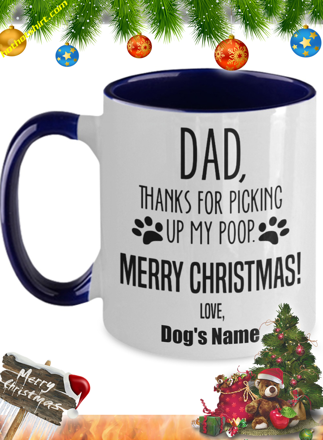 Dad thanks for picking up my poop personalize custom name mug 2