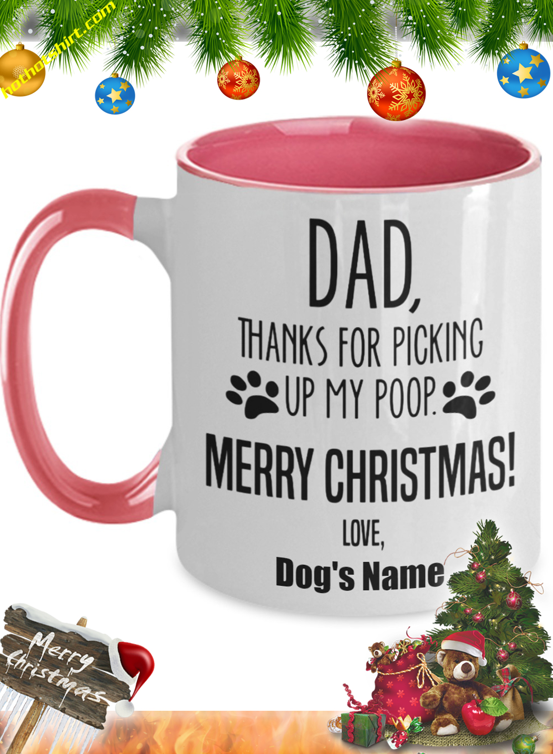 Dad thanks for picking up my poop personalize custom name mug 3