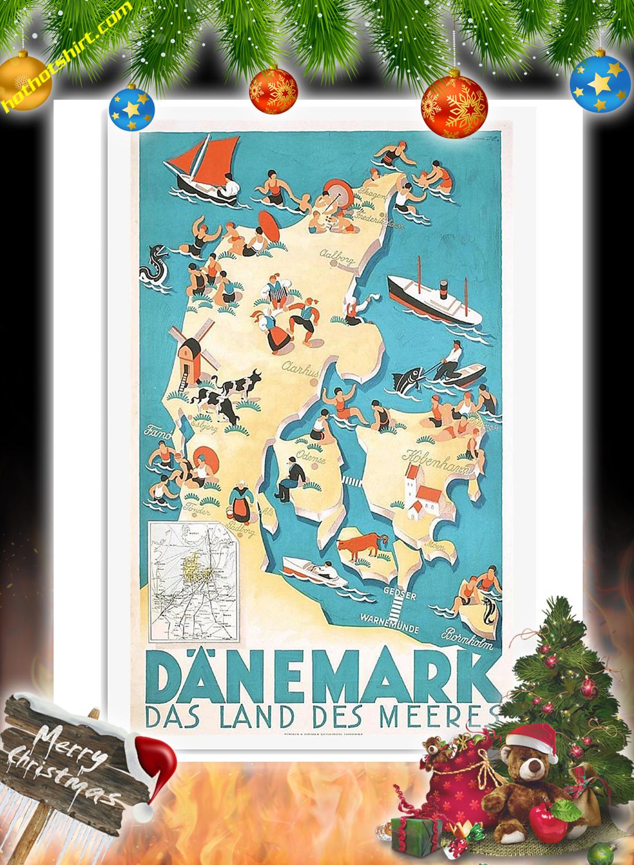 Danemark das land des meeres vintage travel poster