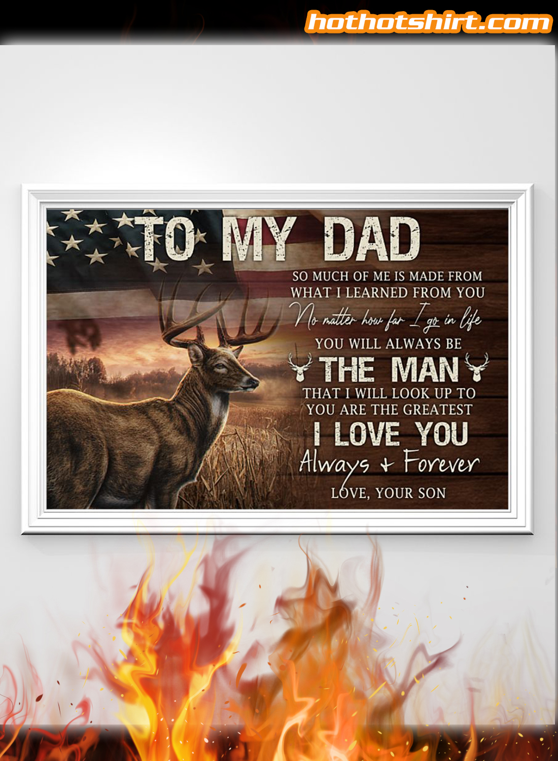 Deer USA Flag To My Dad I Love You Alway And Forever Canvas Poster 1
