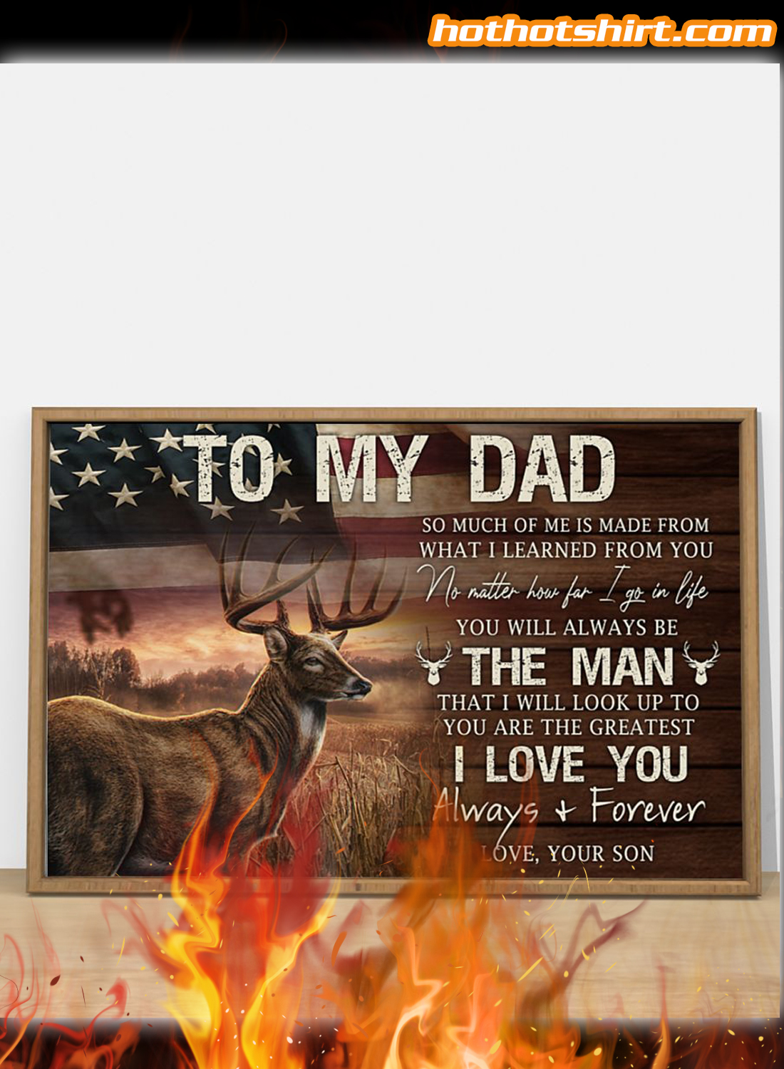 Deer USA Flag To My Dad I Love You Alway And Forever Canvas Poster 2