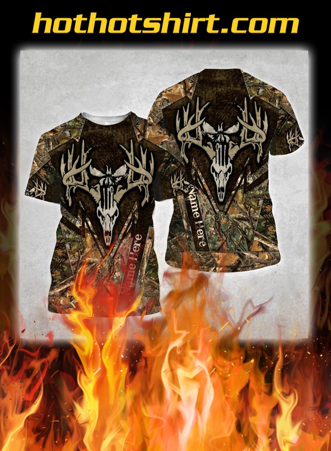 Deer hunting skull personalize custom name 3d shirt