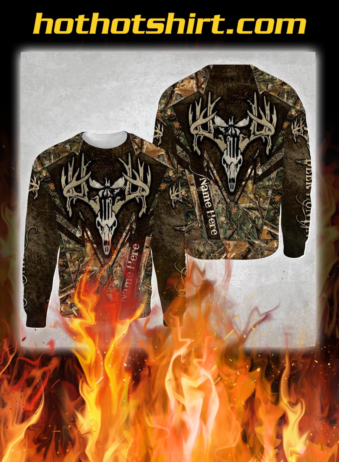 Deer hunting skull personalize custom name 3d sweatshirt