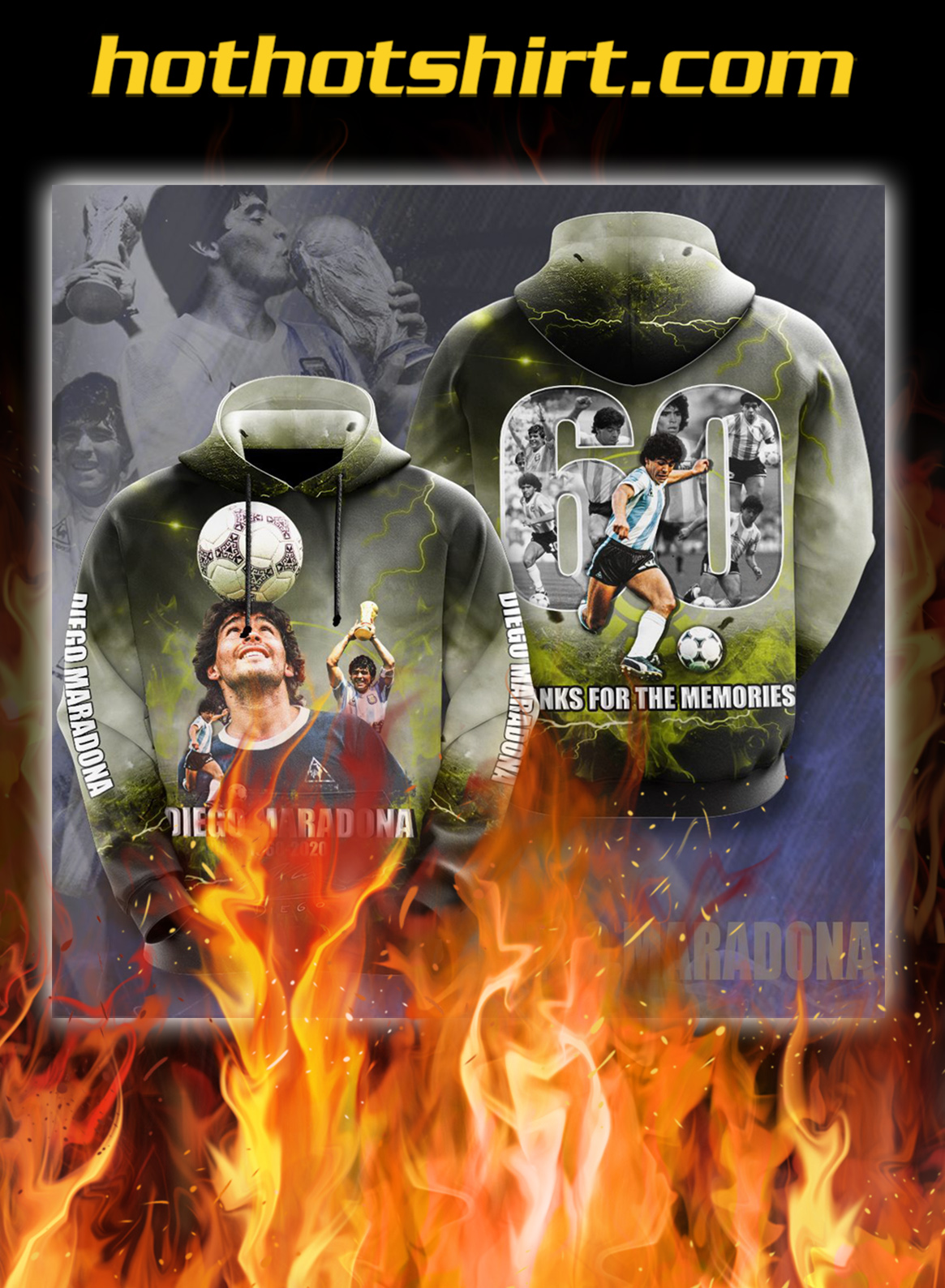 Diego Maradona 1960 2020 thanks for the memories signature 3d hoodie- pic 1