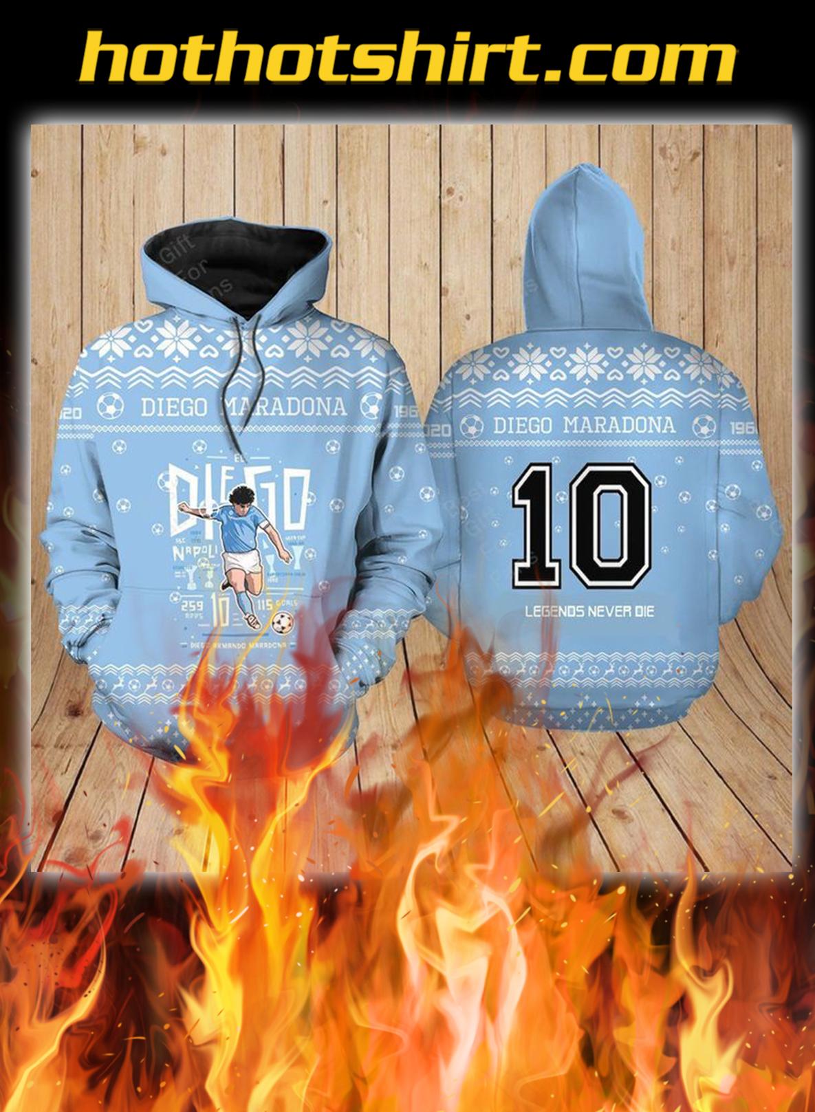 Diego maradona ugly christmas 3d hoodie
