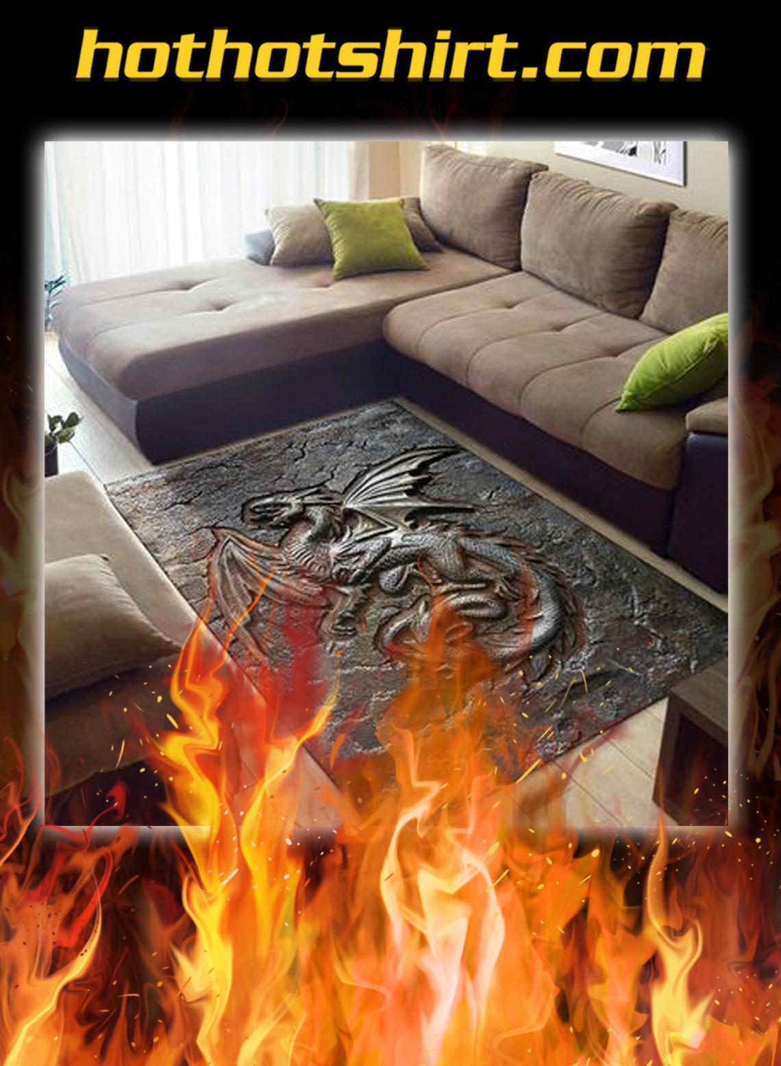 Dragon cracks metal pattern print rug- pic 1