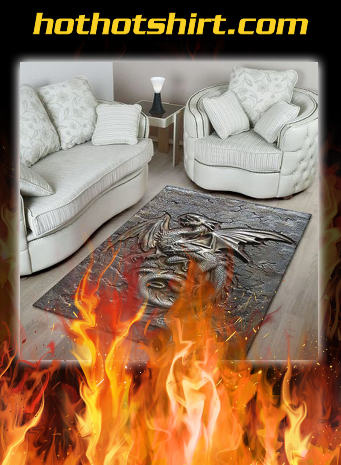 Dragon cracks metal pattern print rug- pic 3
