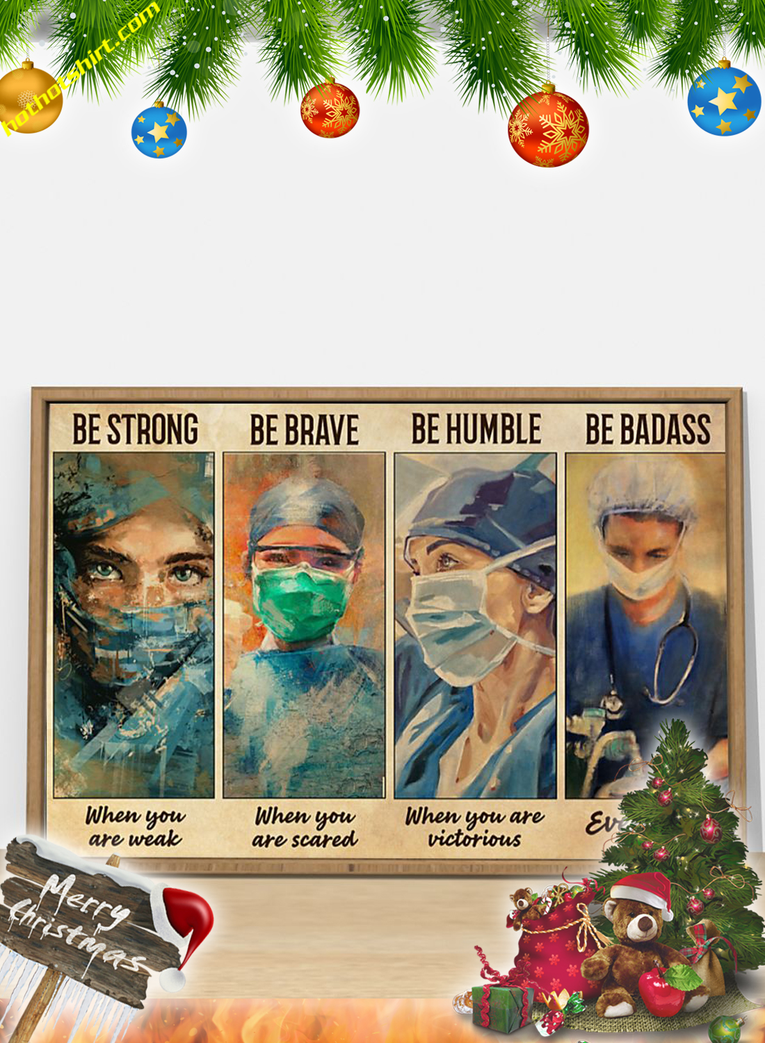 Female Physicians Be strong be brave be humble be badass poster 2