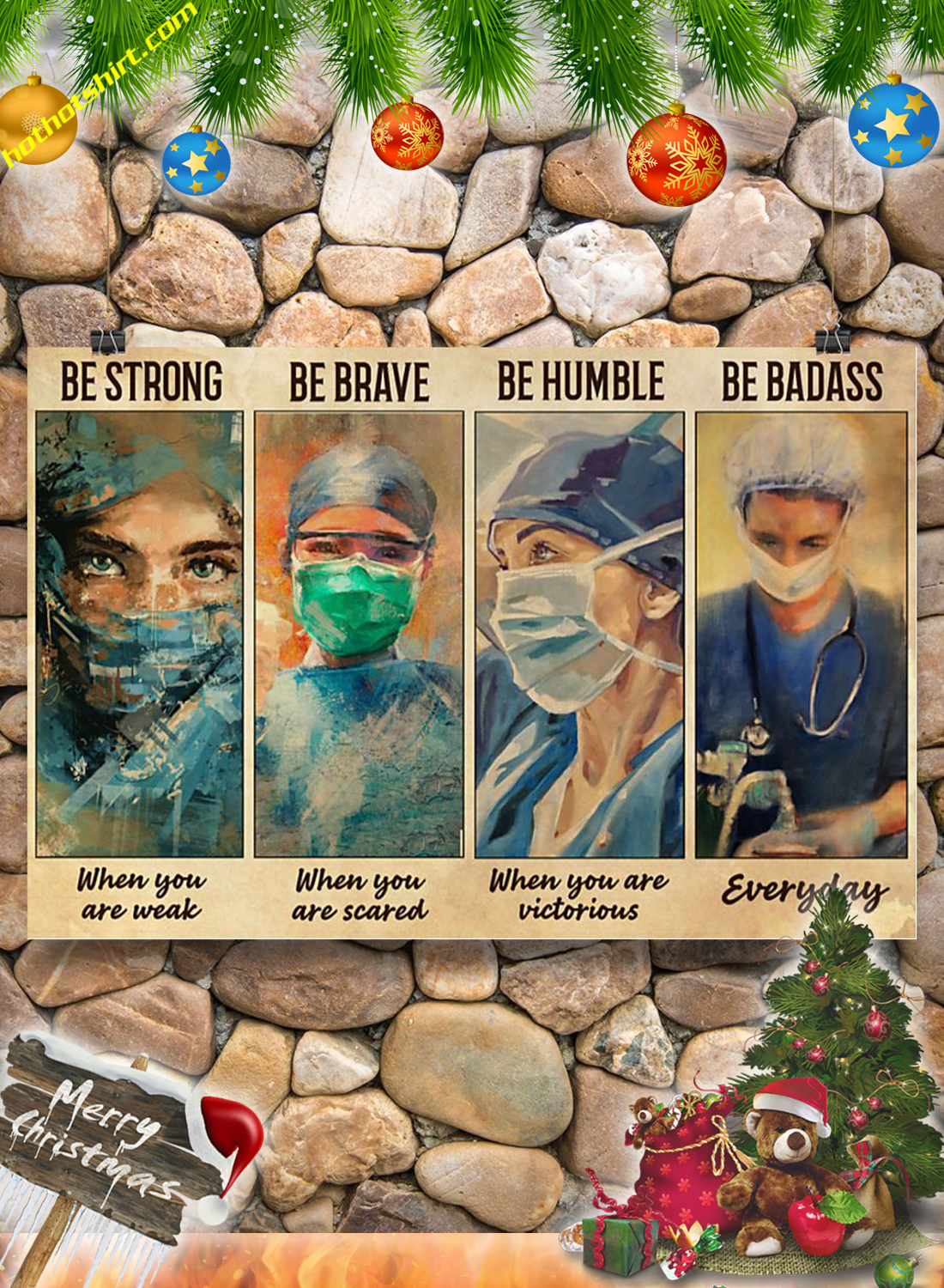 Female Physicians Be strong be brave be humble be badass poster 3