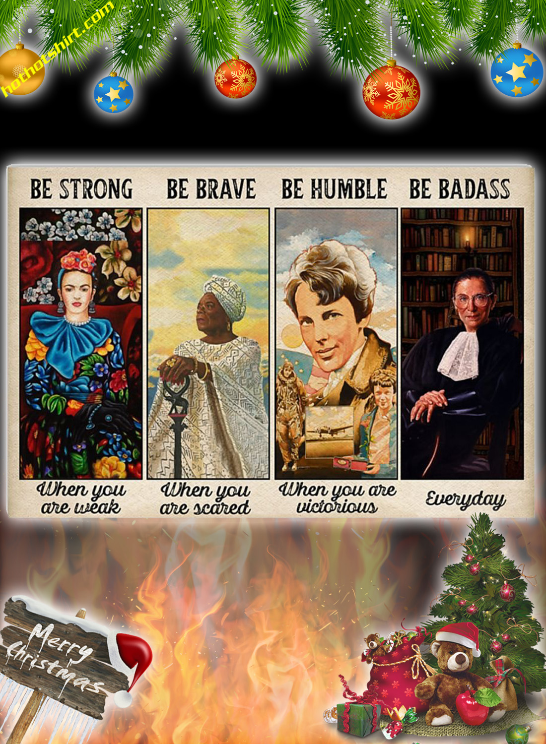 Feminist Be strong be brave be humble poster 1