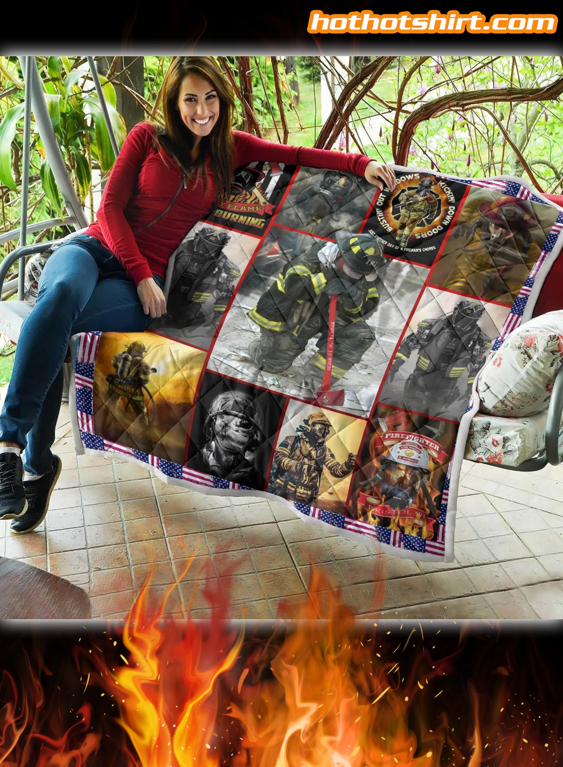 Firefighter My Flame Keeps Burning Quilt Blanket 2