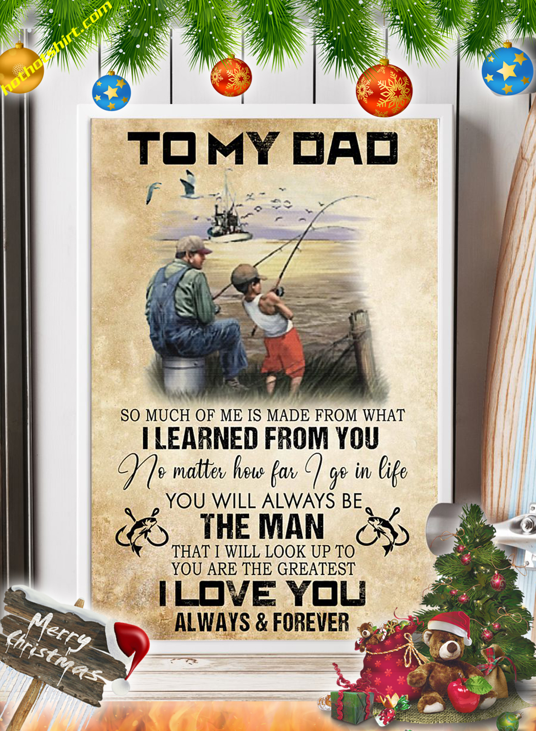 Fishing To my dad canvas prints and poster 1